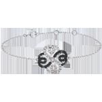 Verkäufe Armband Solitär Frische - Weißgold, schwarze und weiße Diamanten - Verspielter Klee