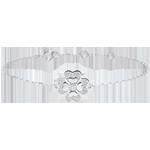 Armband Solitär Frische - Weißgold und Diamanten - Glitzernder Klee