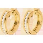 Aros oro amarillo diamantes - engaste raíl - 0,33 quilates - 22 diamantes