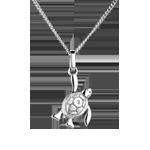 Babyschildpad - klein model - 18 karaat witgoud