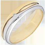 Bague Amour - Alliance homme or blanc et or jaune 9 carats - diamant 0.022 carat