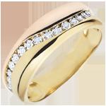 cadeau femme Bague Amour - Multi-diamants - or rose et or jaune - 9 carats