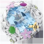 ventes en ligne Bague Balade Imaginaire - Paradis bleu - Argent, diamants et pierres fines