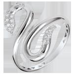 cadeau femmes Bague Balade Imaginaire - Serpent d'amour - or blanc 9 carats et diamants