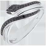 cadeau femme Bague Balade Imaginaire - Serpent Envoutant - or blanc et diamants noirs