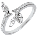 Bague Bois Mystérieux - or blanc 9 carats et diamants navettes