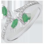cadeau Bague Bois Mystérieux - or blanc, diamants et émeraudes navettes - 18 carats