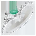 mariages Bague Bois Mystérieux - petit modèle - or blanc et émeraude navette - 9 carats