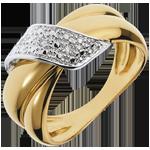 Bague Boucle d'Or pavée - 6 diamants - or blanc et or jaune 18 carats