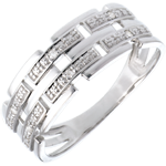 acheter on line Bague canevas or blanc pavée diamants - 6 diamants
