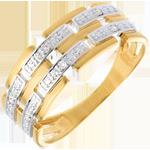 femme Bague Canevas pavée diamants - 6 diamants - or blanc et or jaune 18 carats
