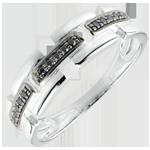 bijou or Bague Clair Obscur - Chemin Secret - or blanc, diamant noir - petit modèle 9 carats