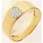 bijouterie Bague coeur ardillon or jaune 18 carats pavé - 13 diamants
