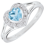Bague Coeur Enchantement - topaze bleue - or blanc 18 carats