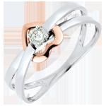 cadeaux femme Bague Coeur Voltige or blanc et or rose 18 carats