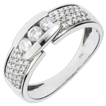 acheter on line Bague Constellation - Trilogie pavée or blanc - 0.509 carat - 57 diamants