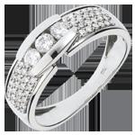 femme Bague Constellation - Trilogie pavée or blanc 18 carats - 0.509 carat - 57 diamants