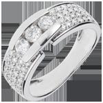 cadeaux femmes Bague Constellation - Trilogie pavée or blanc 18 carats - 0.84 carat - 59 diamants