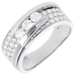 vente on line Bague Constellation - Trilogie pavée variation - 0.86 carat - or 18 carats