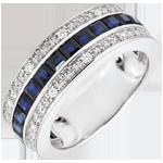 Bague Constellation - Zodiaque - saphirs bleus et diamants - or blanc 18 carats