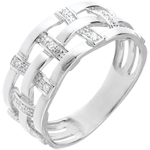 Bague couture or blanc 18 carats pavée diamants - 11 diamants
