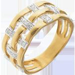 Bague couture or jaune 18 carats pavée diamants - 11 diamants