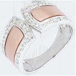 cadeau Bague Destinée - Impériale et diamants - or blanc et or rose 18 carats