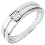 ventes en ligne Bague double rangs avec diamant de centre - 0.05 carat - or blanc 18 carats