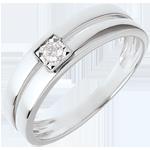 cadeau femmes Bague double rangs avec diamant de centre - 0.05 carat