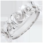 cadeau Bague Eclosion - Couronne de Roses - or blanc et diamants - 9 carats