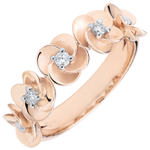 bijou or Bague Eclosion - Couronne de Roses - or rose et diamants - 18 carats