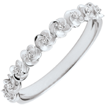cadeaux femmes Bague Eclosion - Couronne de Roses - Petit modèle - or blanc et diamants - 18 carats