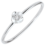 bijou Bague Eclosion - Première Rose - Petit Modèle - or blanc et diamant - 9 carats