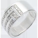 Bague équerre or blanc 18 carats pavée - 17 diamants