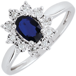 Bague Eternel Edelweiss - Marguerite Illusion - saphir et diamants - or blanc 18 carats