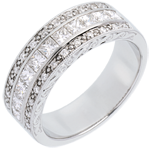 Bague Féérie - Direction Vénus - or blanc 18 carats semi pavée - 0.87 carat - 35 diamants