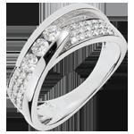 achat en ligne Bague Féérie - Trilogie Funambule or blanc 18 carats pavé - 0.62 carats - 45 diamants