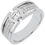 Bague de fiançailles Constellation - Diamant Solitaire - diamant 0.35 carat - or blanc 18 carats