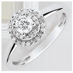 Bague de Fiançailles Double halo - diamant 0.25 carat - or blanc 18 carats