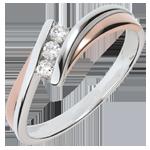 acheter en ligne Bague de fiançailles Nid Précieux - Trilogie diamant - or rose, or blanc - 3 diamants - 18 carats