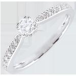 cadeaux femmes Bague de Fiançailles Or Blanc Solitaire Garlane 8 griffes - 0.19 carat