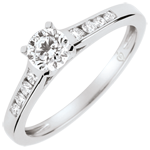 bijou or Bague de Fiançailles Solitaire Altesse - diamant 0.4 carat - or blanc 9 carats