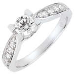 mariage Bague de Fiançailles Solitaire Comtesse - diamant 0.4 carat - or blanc 18 carats