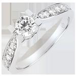 cadeau femmes Bague de Fiançailles Solitaire Comtesse - diamant 0.4 carat - or blanc 9 carats