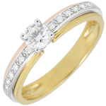 mariage Bague de Fiançailles Solitaire Destinée - Ma Reine - Petit Modèle - 3 ors - 18 carats