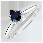 ventes en ligne Bague de fiançailles Solitaire or blanc Roseau - saphir 0.35 carat - 18 carats