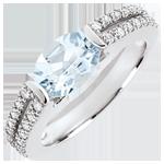 Bague de Fiançailles Victoire - aigue-marine 1.2 carats et diamants - or blanc 18 carats