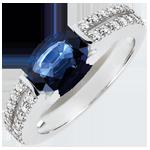 cadeau femme Bague de Fiançailles Victoire - saphir 1.7 carats et diamants - or blanc 18 carats