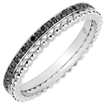 Bague Fleur de Sel - double rang - diamants noirs - or blanc 9 carats