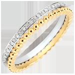 ventes Bague Fleur de Sel - double rang - diamants, or jaune et or blanc 9 carats